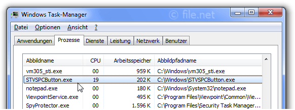 Windows Task-Manager mit STVSPCButton