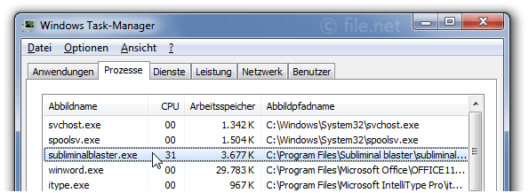 Windows Task-Manager mit subliminalblaster