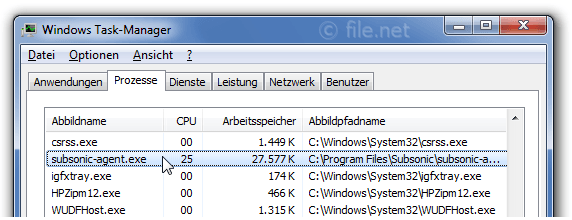 Windows Task-Manager mit subsonic-agent