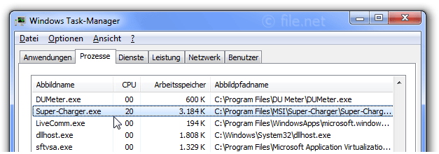 Windows Task-Manager mit Super-Charger
