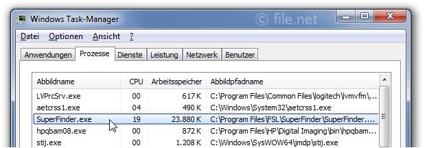 Windows Task-Manager mit SuperFinder