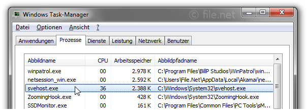 Windows Task-Manager mit svehost