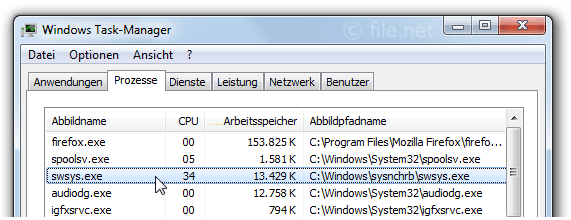 Windows Task-Manager mit swsys