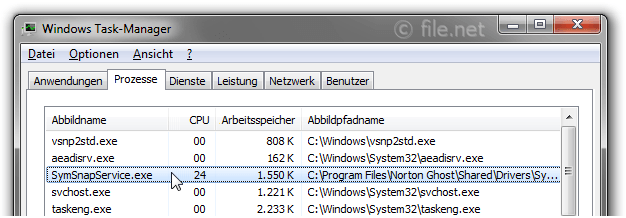 Windows Task-Manager mit SymSnapService
