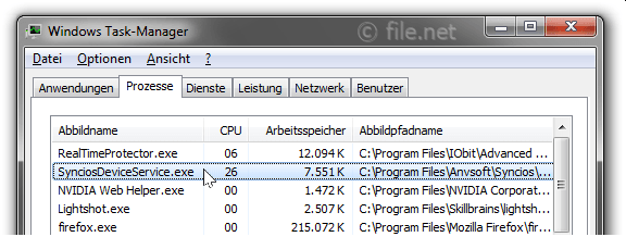 Windows Task-Manager mit SynciosDeviceService