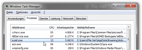 Windows Task-Manager mit syssl