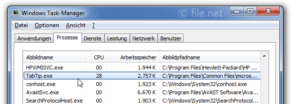 Windows Task-Manager mit TabTip