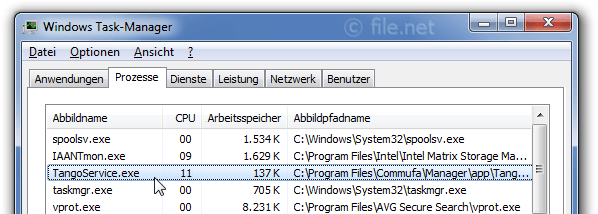 Windows Task-Manager mit TangoService