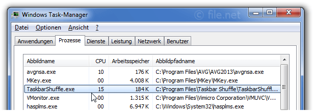 Windows Task-Manager mit taskbarshuffle