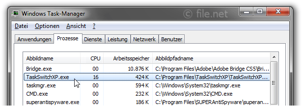 Windows Task-Manager mit TaskSwitchXP