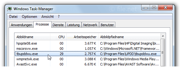 Windows Task-Manager mit tbupddwu
