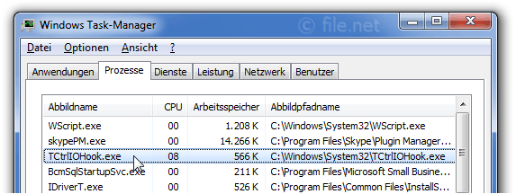 Windows Task-Manager mit TCtrlIOHook