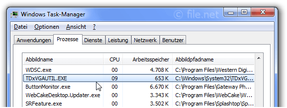 Windows Task-Manager mit TDxVGAUTIL