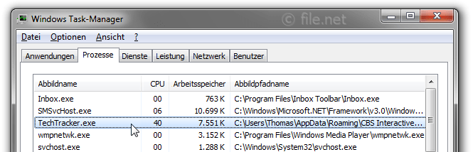 Windows Task-Manager mit TechTracker