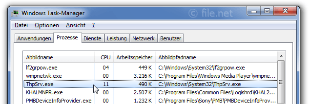 Windows Task-Manager mit ThpSrv