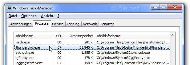 Windows Task-Manager mit thunderbird