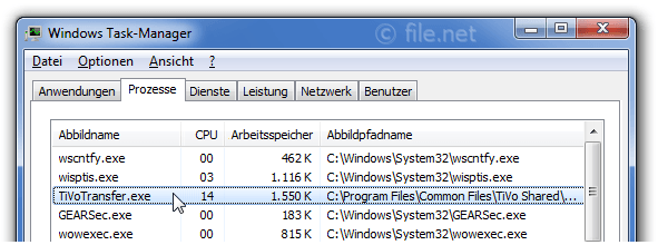 Windows Task-Manager mit TiVoTransfer