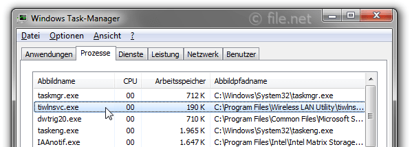 Windows Task-Manager mit tiwlnsvc