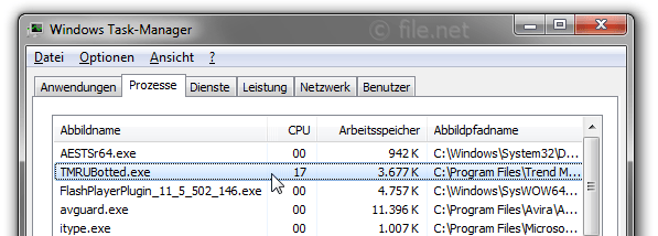 Windows Task-Manager mit TMRUBotted