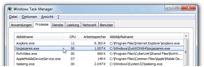 Windows Task-Manager mit tocpszanmi