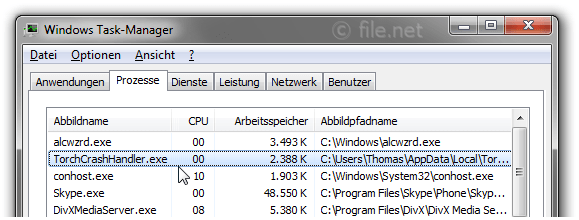 Windows Task-Manager mit TorchCrashHandler