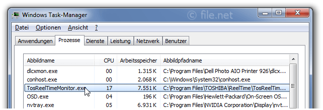 Windows Task-Manager mit TosReelTimeMonitor