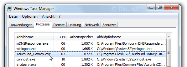Windows Task-Manager mit TouchPad_HotKey