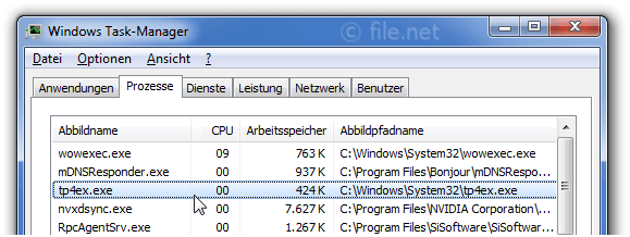 Windows Task-Manager mit tp4ex