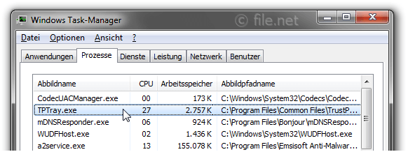 Windows Task-Manager mit TPTray