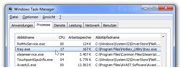 Windows Task-Manager mit Tray