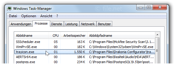 Windows Task-Manager mit TrayIcon