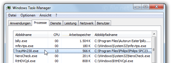 Windows Task-Manager mit TrayMin230