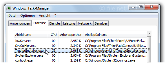 Windows Task-Manager mit TrustedInstaller
