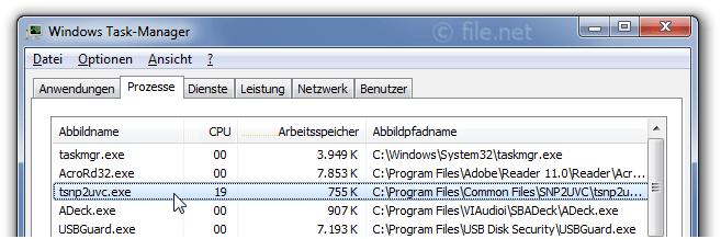 Windows Task-Manager mit tsnp2uvc