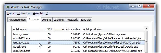 tsnp2uvc.exe Windows Prozess - Was ist das?
