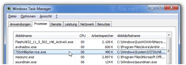 Windows Task-Manager mit TSSchBkpService