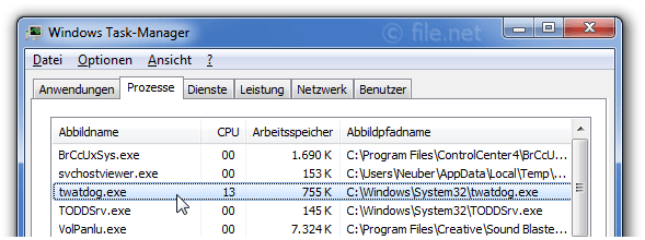 Windows Task-Manager mit twatdog