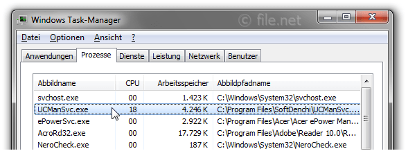 Windows Task-Manager mit UCManSvc