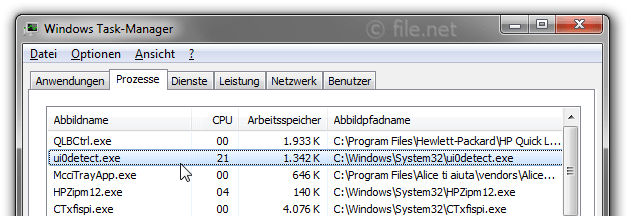 Windows Task-Manager mit UI0Detect