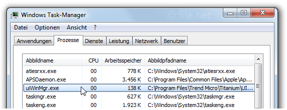 Windows Task-Manager mit uiWinMgr