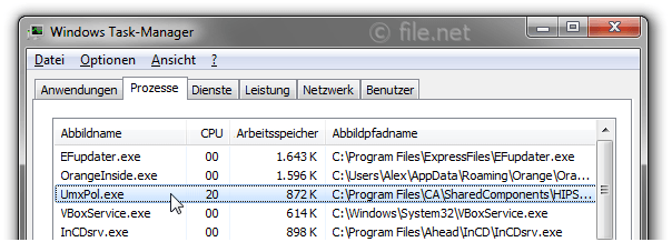 Windows Task-Manager mit UmxPol
