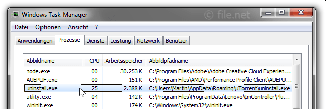 Windows Task-Manager mit Uninstall