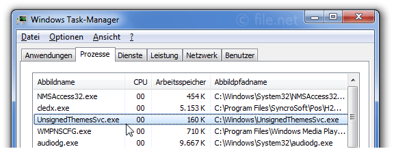 Windows Task-Manager mit UnsignedThemesSvc