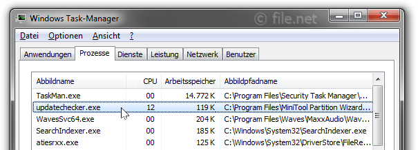 Windows Task-Manager mit UpdateChecker