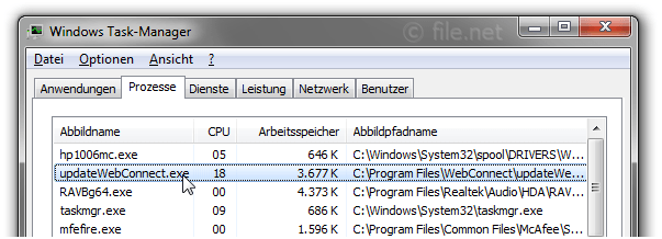 Windows Task-Manager mit updateWebConnect