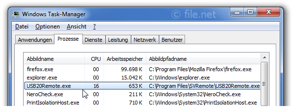 Windows Task-Manager mit USB20Remote
