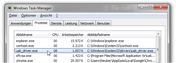 Windows Task-Manager mit usb_driver