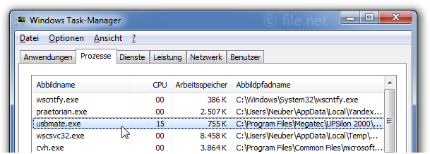 Windows Task-Manager mit USBMate