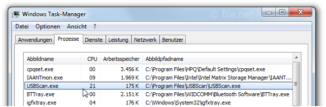 Windows Task-Manager mit USBScan