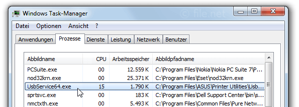 Windows Task-Manager mit UsbService64